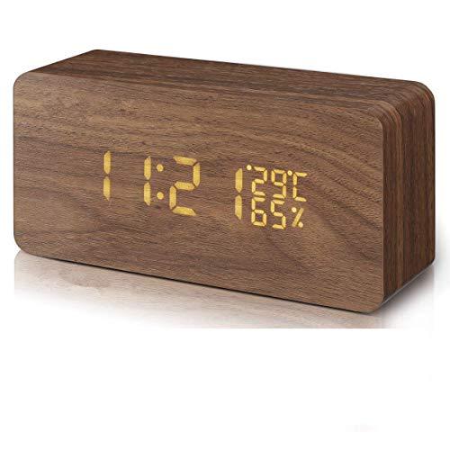 CULASIGN LED Digitaler Wecker, Holz Wecker Uhr Modern Tischuhr, Datum, Zeit, Temperatur, Feuchtigkeit Wecker mit USB Kabel