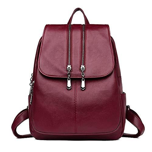 Frauen Echtes Leder Rucksack Geldbörse Damen Casual Schultertasche Schultasche für Mädchen (Weinrot)