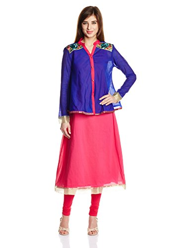 IndusDiva by Priyadarshini Rao Fuschia and Indigo A-Line Kurta