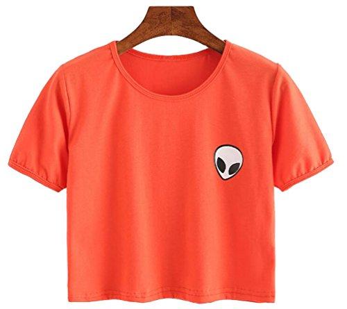 YouPue Damen Alien Druck Casual Cropped Pullover Crew Neck Sweatshirt Orange# 2