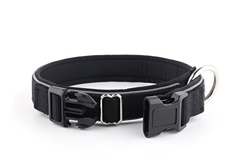 KURI PAI Feelgood Halsband, Größe M (43-50cm) schwarz. Gepolstertes Hundehalsband. Reflektierend. Gepolstert mit Neopren. Obermaterial aus Bambusfaser - 3