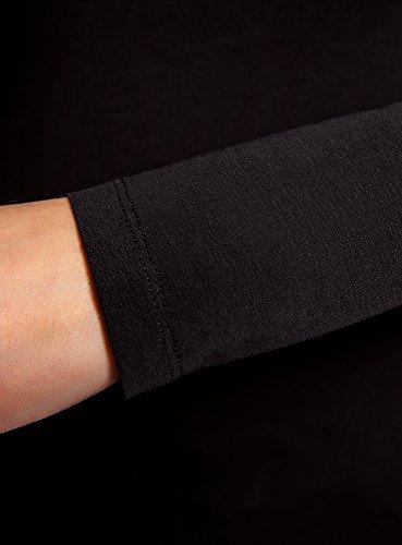oodji Collection Donna T-Shirt con Maniche Lunghe (Pacco di 3) Nero (2900N)