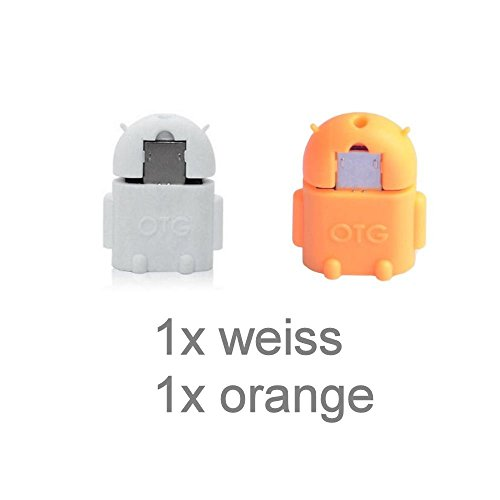 KRS A1 Weiss /Orange - USB OTG Robot - otg Adapter Micro-USB-Stecker Typ B / USB-Kupplung Buchse Typ A OTG Android Roboter Robot -USB Adapter für Huawei Ascend Mate Mate 2 P6 P6S Samsung Galaxy S2 I9100 I9105P S3 I9300 I9305 Note N7000 Sony Xperia Z1 L39h Z1f Honami Mini Compact ZL L35i Tablet Z (Cdma-gsm-android)