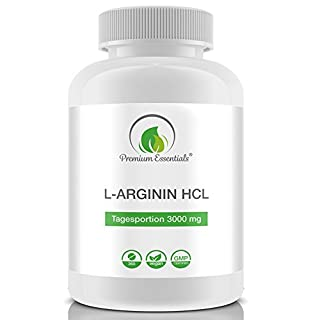 L-ARGININE HCL | 360 tablets (vegan) | 3000 mg Daily Dosage | For 60 Days | Pure Arginine HCL | Premium Quality (GMP / ISO) Made in Germany | Semi-Essential Amino Acid | Pre-workout + Muscle-Grwoth