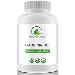 L-Arginin HCL, 360 Tabletten (vegan) hochdosiert á 500mg, 3000mg Tagesportion, Spitzenqualität hergestellt in Deutschland