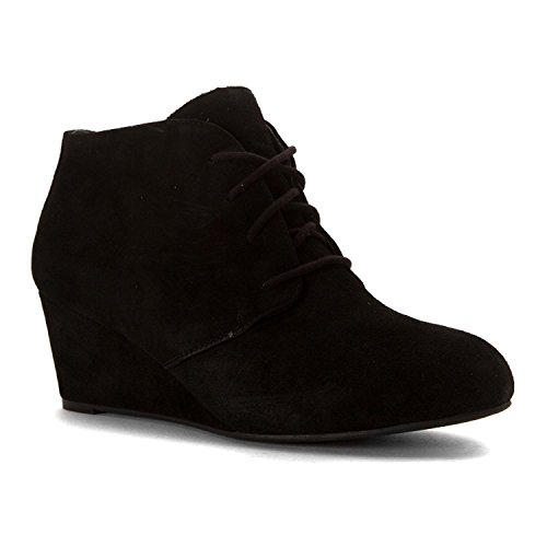 VIONIC Women's Elevated Becca Wedge Lace-Up Black (Womens Lace Black Boots Up)