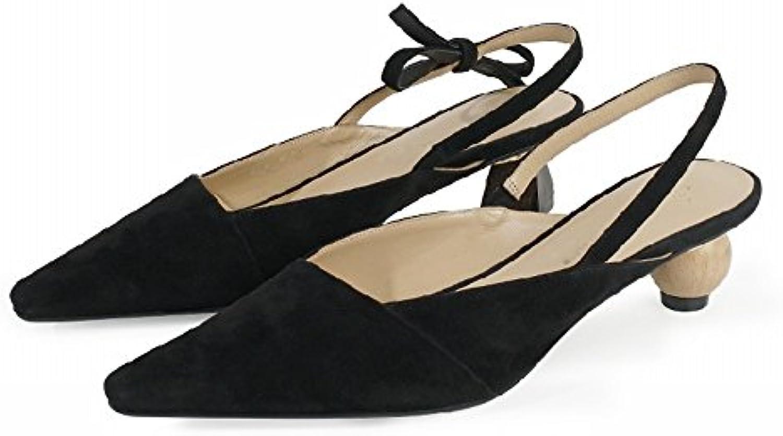 CWJ Wild Geometry Asymmetrical Tips con Baotou Sandals,Nero,34   Moda E Pacchetti Interessanti    Scolaro/Ragazze Scarpa