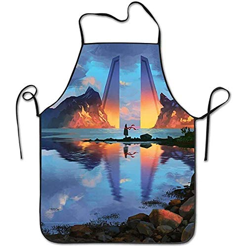 Mountain Kostüm Mann - Apron Landscape Mountains River Deluxe Cooking Aprons,Funny Fashion Chef Apron Applies to Men and Women