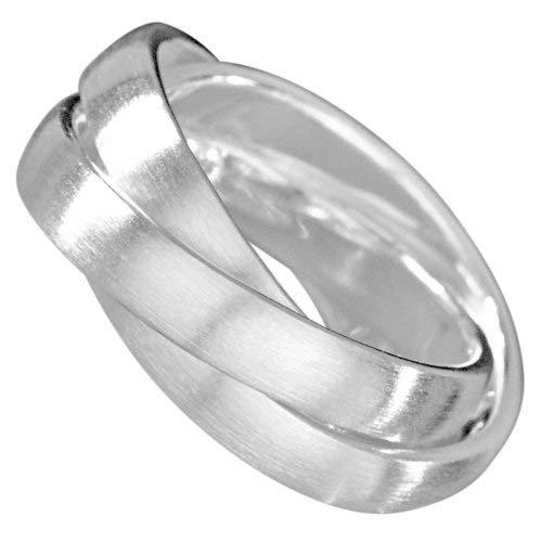 Vinani 3er Ring Wickelring mattiert drei Ringe beweglich Sterling Silber 925 Größe 58 (18.5) Dreierring RSM58