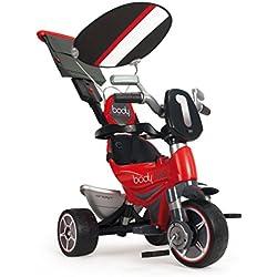 INJUSA - Triciclo infantil Body Sport para niños a partir de 10 meses evolutivo con rueda libre, control parental de dirección, rojo (325)