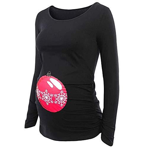 Lonshell Weihnachten Drucken Umstandsmode Langarm T-Shirt für Schwang