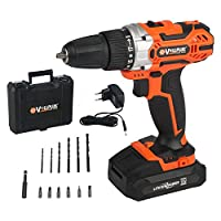 Vollplus 18V Lithium-ion Cordless Drill with Kit Box Orange Drill Drivers for DIY VPCD2121