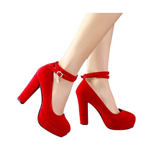 ALUK- Scarpe da sposa – scarpe da sposa rosso tacchi alti con pizzo ... b93f18bfb9a