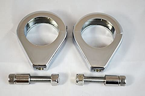 CHROME Motorcycle Motorbike Indicator Relocation Clamps Brackets for 41mm forks