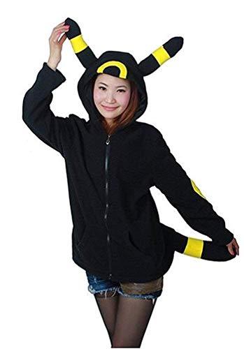 Cosplay Nachtelfen Kostüm - MU Maskerade Woman and Men Lässige Animal Sweater Hooded Hoodieturtleneck Langarm-Sweatshirt mit Reißverschluss und Tasche Mehrere Stile,Nachtelfen-gelbes Ohr,* L