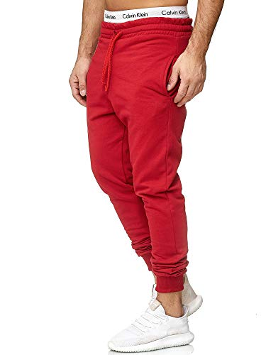 OneRedox Herren | Jogginghose | Trainingshose | Sport Fitness | Gym | Training | Slim Fit | Sweatpants Streifen | Jogging-Hose | Stripe Pants | Modell 5000C Rot L