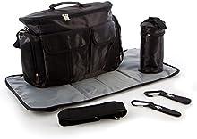 Bolsa cambiador BTR con estera cambiador y espacio para biberones – Incluye los elementos de fijación para los cochecitos de bebé y sillas de paseo. Negra