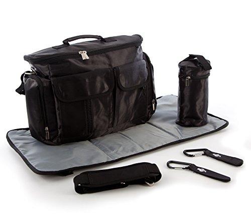 Preisvergleich Produktbild BTR Baby Wickeltasche mit Wickelunterlage, Flaschenhalter & 2 Buggy Clips - Zur Befestigung am Kinderwagen / Buggy. Schwarz