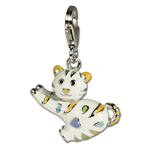 SilberDream lustige Katze Charm 925 Sterling Silber Charms Anhänger für Armband Kette Ohrring FC644