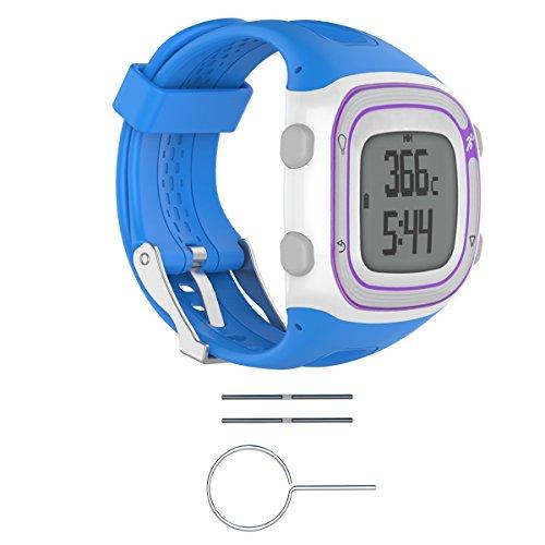 Bluelover cinturino in silicone da polso + strumenti per garmin forerunner 10/15 gps orologio da corsa - l - blu