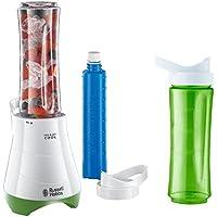 [Patrocinado]Russell Hobbs Mix & Go Cool 21350-56 - Mini batidora, 300 W, incluye cuchillo para hielo, 2 vasos , 2 tapas y 2 tubos refrigerantes , libre de BPA, color blanco y verde