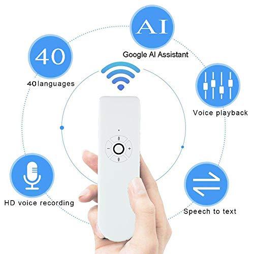 Lesgos traduttore istantaneo vocale, Portable Smart Translator, Instant Pocket Translator per Lingue straniere con Supporto di AI Assistant 40 Lingue per l'apprendimento Commerciale (White)