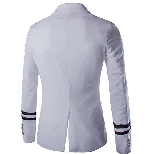 partiss hommes de printemps automne Loisirs Fashion Style Bleu Marine Manches Longues pour Femme Blanc - Blanc