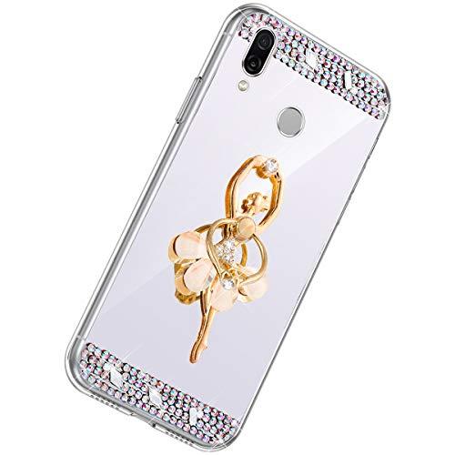 Herbests Kompatibel mit Huawei Honor Play Handyhülle Glitzer Diamant Glänzend Spiegel Handytasche Durchsichtig Kristall Bling Schutzhülle Case mit 360 Grad Ring Ständer Halter,Silber