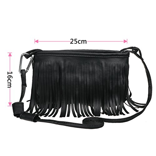 xhorizon TM FM8 Crossbody Schulter Eimer Tasche aus Kunstwildleder mit Quast Franse Tassel Design für Frauen Schwarz