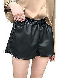 Suvotimo Femmes PU Faux Cuir Shorts Lâche Élastique Taille Pantalon 397d6412ade9