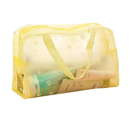 Jingyuu 1 Pinceaux de maquillage Sac de rangement transparente de douche Trousse de toilette avec poignée pour cosmétique jaune jaune 24 * 9 * 15CM