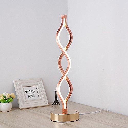 ELINKUME Twist Wave LED Tischleuchte - 24 Watt Kaltweiß Moderne dekorative Leuchte mit 3800LM Stehhöhe 17,72 Zoll Hoch auf 4,92 Zoll Runde Basis - Einfach Ein/Aus Steuerschalter - Rose Golden