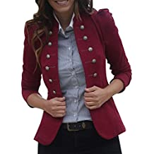 Linlink Chaqueta Cortaviento Retro de Invierno para Mujeres cálido Vintage Chaqueta Abrigo Outwear botón Uniforme Botones
