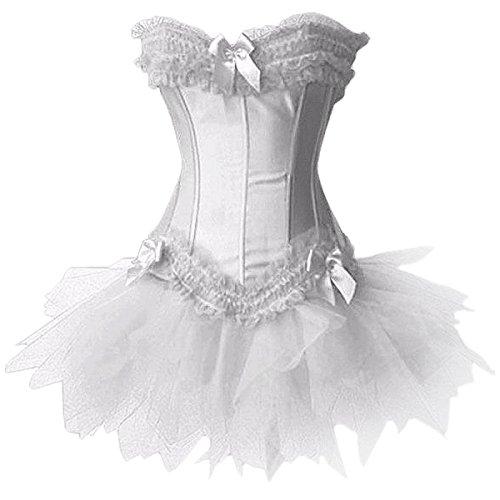 Grebrafan Womens Swan Moulin Rouge Burlesque Corset + Tutu Petticoat Skirt (EU(32-34) S, Bianco)