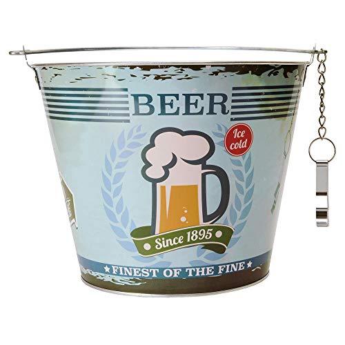 Biereimer Vintage Beer Bierkühler mit Flaschenöffner aus Metall - Eiseimer Getränkekühler