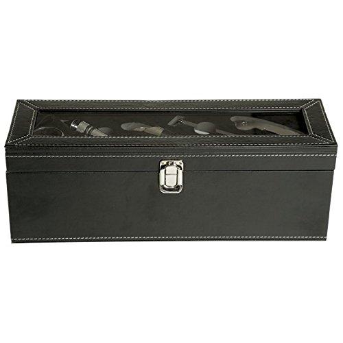 Vino Accesorios Vino Juego 6Piezas Set de regalo con cuchillo sacacorchos camarero pantalla Schneider cierre de botellas de vino termómetro vertedor en caja de regalo–accesorios de vino Set vino Negro