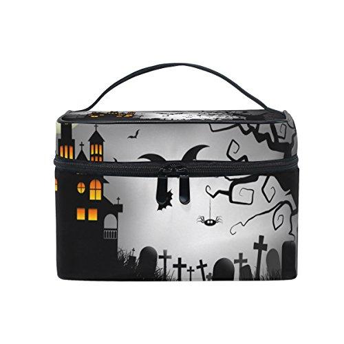 COOSUN Spooky Halloween Hintergrund Kosmetik-Tasche Leinwand-Reise Kulturbeutel Top Single Layer Make-up-Beutel-Organisator Multi-Funktions-kosmetischer Fall Griff für Groß Mehrfarbig