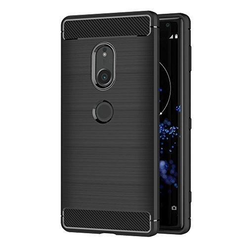 AICEK Sony Xperia XZ2 Hülle, Schwarz Silikon Handyhülle für Sony XZ2 Schutzhülle Karbon Optik Soft Case (5,7 Zoll)