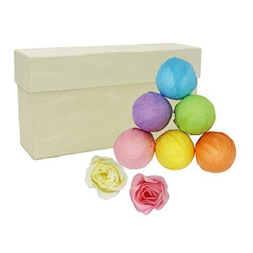 VOVOLY Badekugeln Geschenk-Set für Frauen und Männer Sprudelnde Badebomben mit Rose, Pfefferminze, Zitrone, Lavendel,Kamille, Jasmine und 2 soap flowers (Bath Soap-geschenk-set)