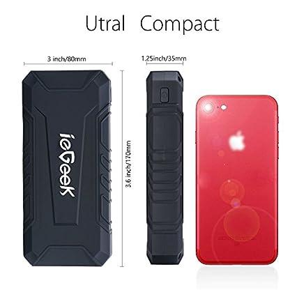 ieGeek – 12000mAh Jump Starter 600A Batería de coche Starter (diseño delgado, batería portátil externa, kit de inicio de coche, LED) Negro