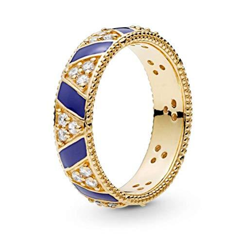 925 Sterling Silber Ring Damen,Blauer Emailfarbe/-Steine Streifen Glänzenden Strass Neuheit Finger Ring Für Frauen Mädchen, Hochzeitstag Verlobung Ewigkeit Brautschmuck Festival Geschenk