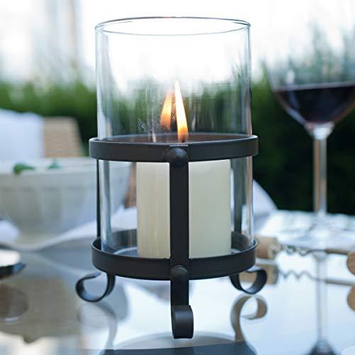 Varia Living Windlicht Horaz aus Metall | mit Glaszylinder als Windschutz | Vintage | Modern und Klassisch | für Große Kerzen | Höhe 15 cm X D 10 cm