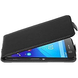 Cadorabo Coque pour Sony Xperia M5, Noir DE Jais Design Flip Fermoire Magnétique Housse de Protection Etui Case Cover pour Sony Xperia M5 - Ouverture Verticale