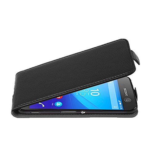 Cadorabo Hülle für Sony Xperia M5 - Hülle in Oxid SCHWARZ – Handyhülle aus Strukturiertem Kunstleder im Flip Design - Case Cover Schutzhülle Etui Tasche
