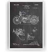 Harley Davidson Cycle Support Poster de Patente Patent Póster Con Diseños Patentes Decoracion de Hogar Inventos Carteles Prints Wall Art Posters Regalos Decor Blueprint - Marco No Incluido