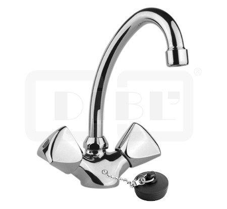 DIBL Classic-Miscelatore per lavabo tubo girevole 2manopole + catena + tappo + (Girevole Tubo Connettore)