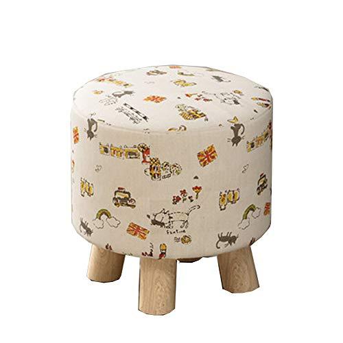 GWJDENGZI Sedie,Sgabello Sgabello da tavolino Sgabello in Tessuto massello Copertina in Tessuto Rimovibile Cucina/Camera da Letto/Soggiorno,F,30 * 29CM