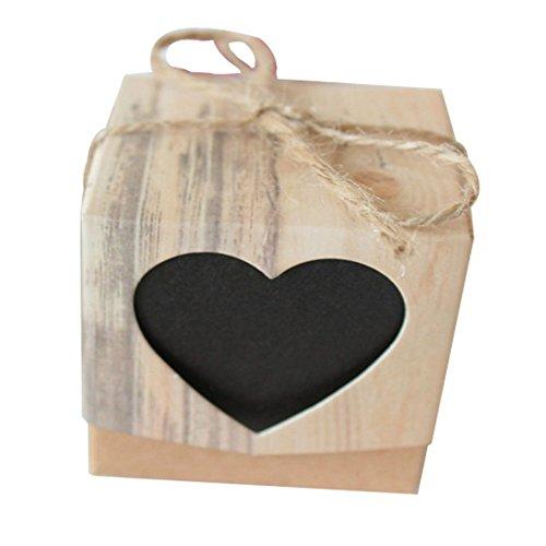 50 Stück Vintage Papier Herz Love Rustikale süße Laser geschnittene Süßigkeiten Geschenkboxen Hochzeit Party Gastgeschenke