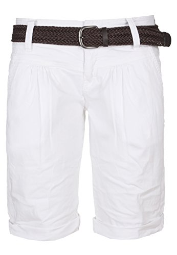 Fresh Made Sommer-Hose Bermuda-Shorts für Frauen | kurze Chino-Hose mit Flecht-Gürtel | Basic Shorts aus Baum-Wolle white M