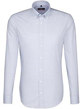 SEIDENSTICKER Herren Hemd Slim Langarm Bügelfrei Karo Businesshemd Button-Down-Kragen Kombimanschette weitenverstellbar